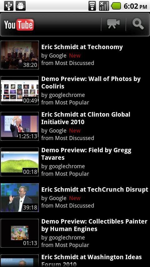Google YouTube app voor Android