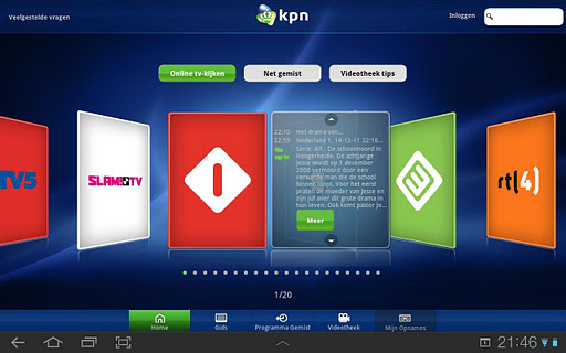 Kijk televisie van KPN op je Android-tablet