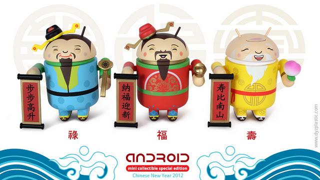 Vier Chinees nieuwjaar met Dead Zebra Android-figuurtjes
