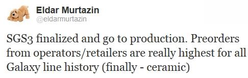 'Samsung Galaxy S III in productie, recordaantal pre-orders'