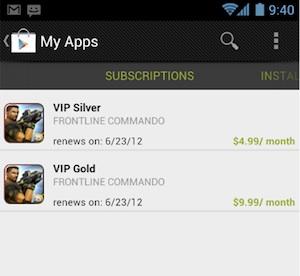 abonnement in-app aankoop