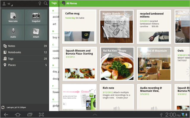 Evernote tablet