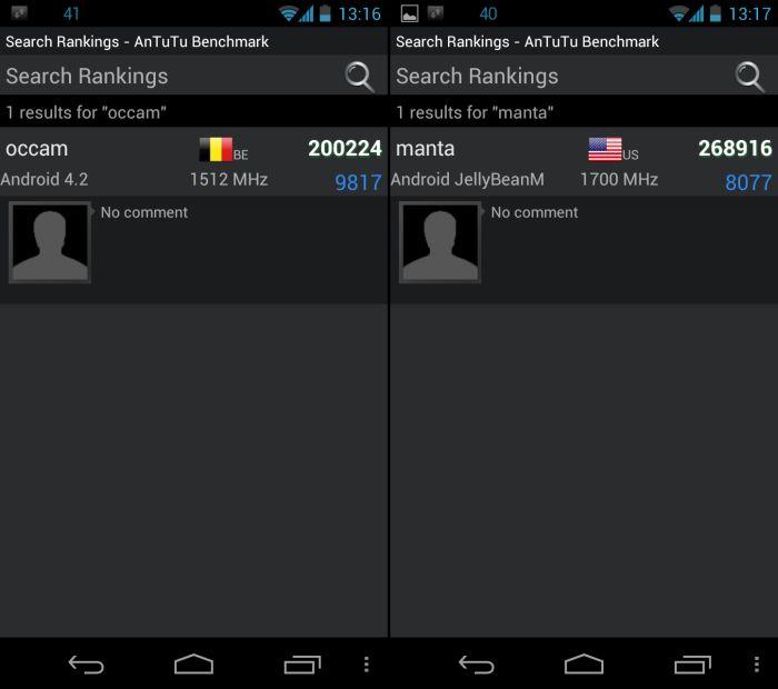 Android 4.2-toestellen duiken ook op in benchmarks, mogelijk van Motorola