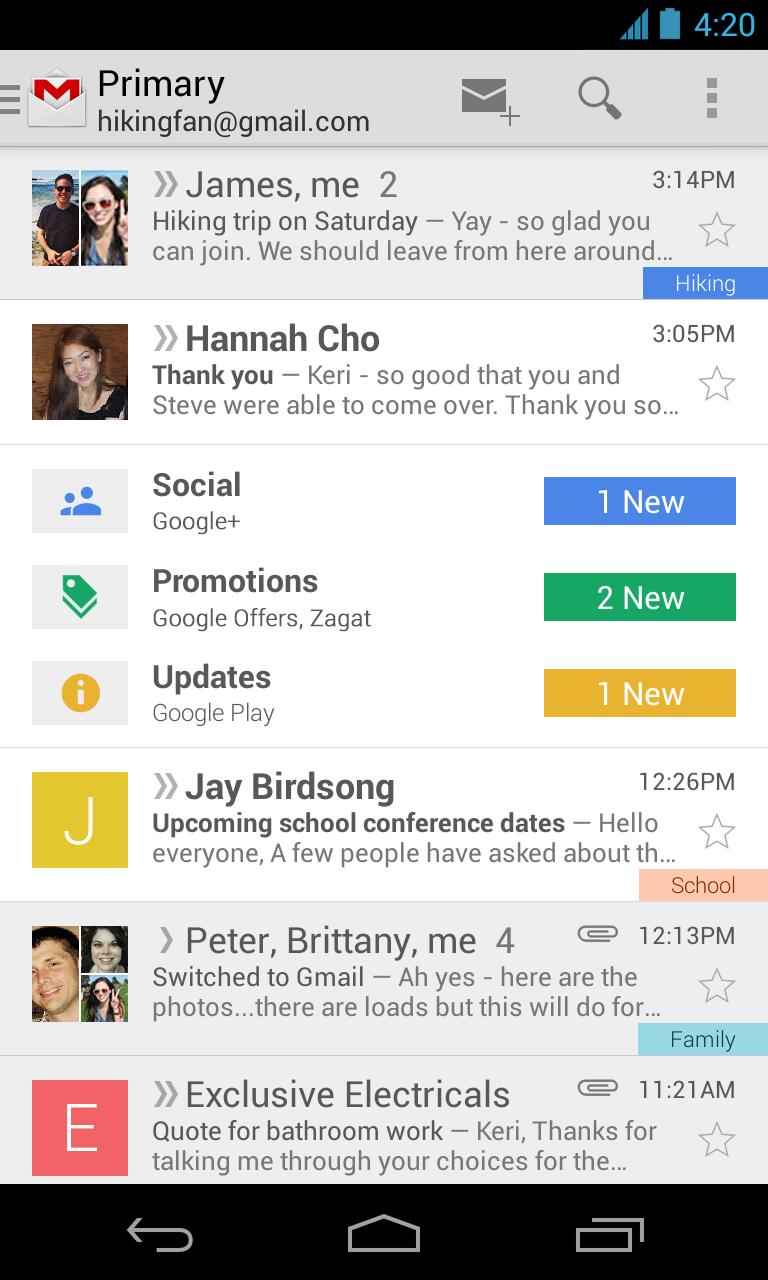 Nieuwe Gmail voor Android uitgebracht, download de app hier