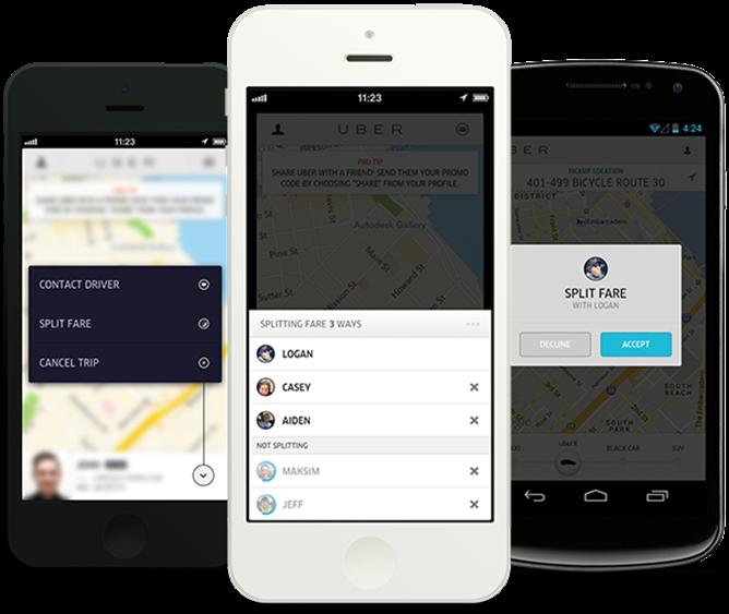 Hippe taxiservice Uber: app laat gebruikers taxiritten splitten