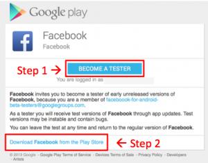 Facebook-app testversie