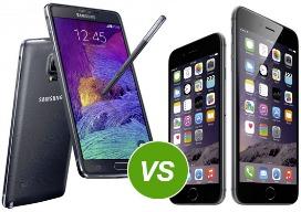 Samsung Galaxy Note 4 versus iPhone 6 Plus: de strijd van de phablets