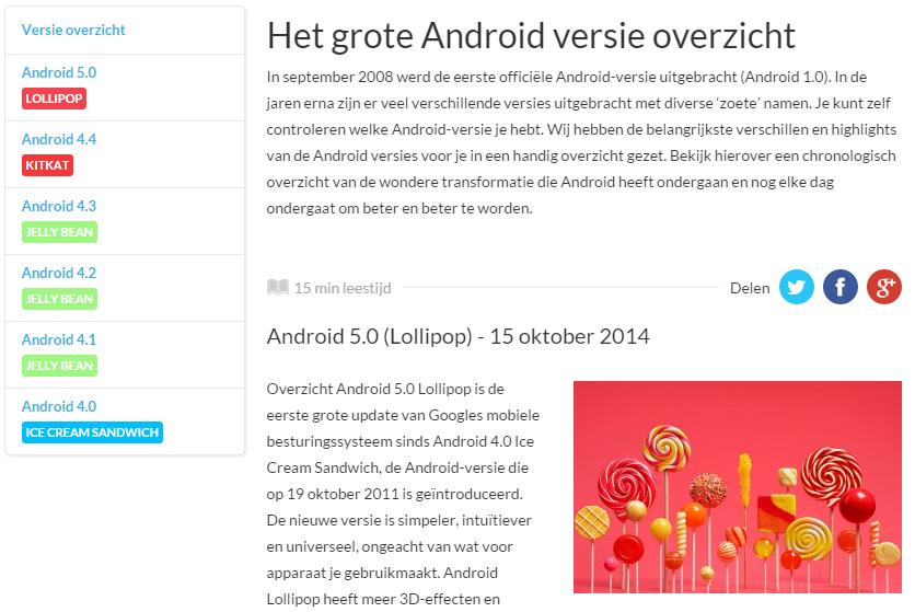 android versies