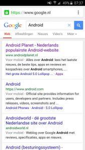 googles mobiele zoekmachine