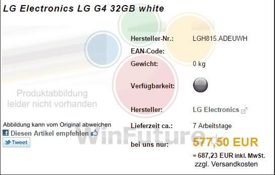 LG G4 prijzen
