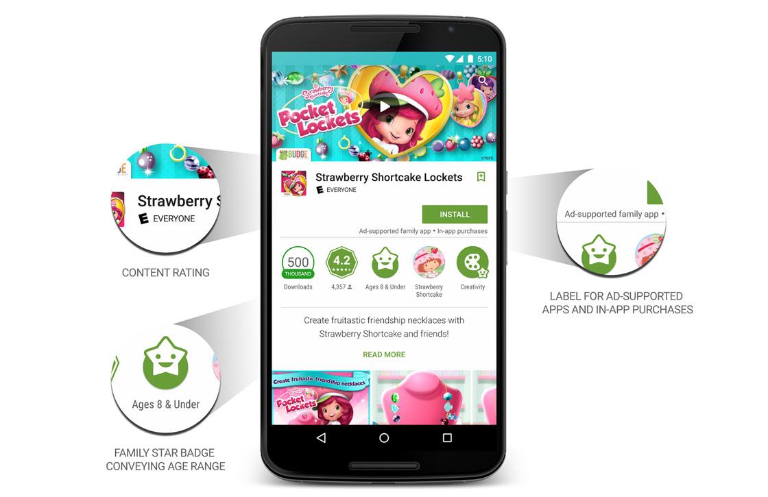 Familievriendelijke content beter vindbaar in Google Play
