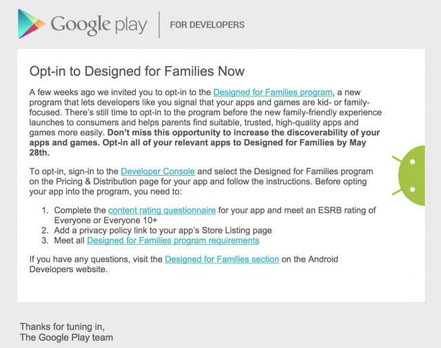 Google Play kindvriendelijke sectie