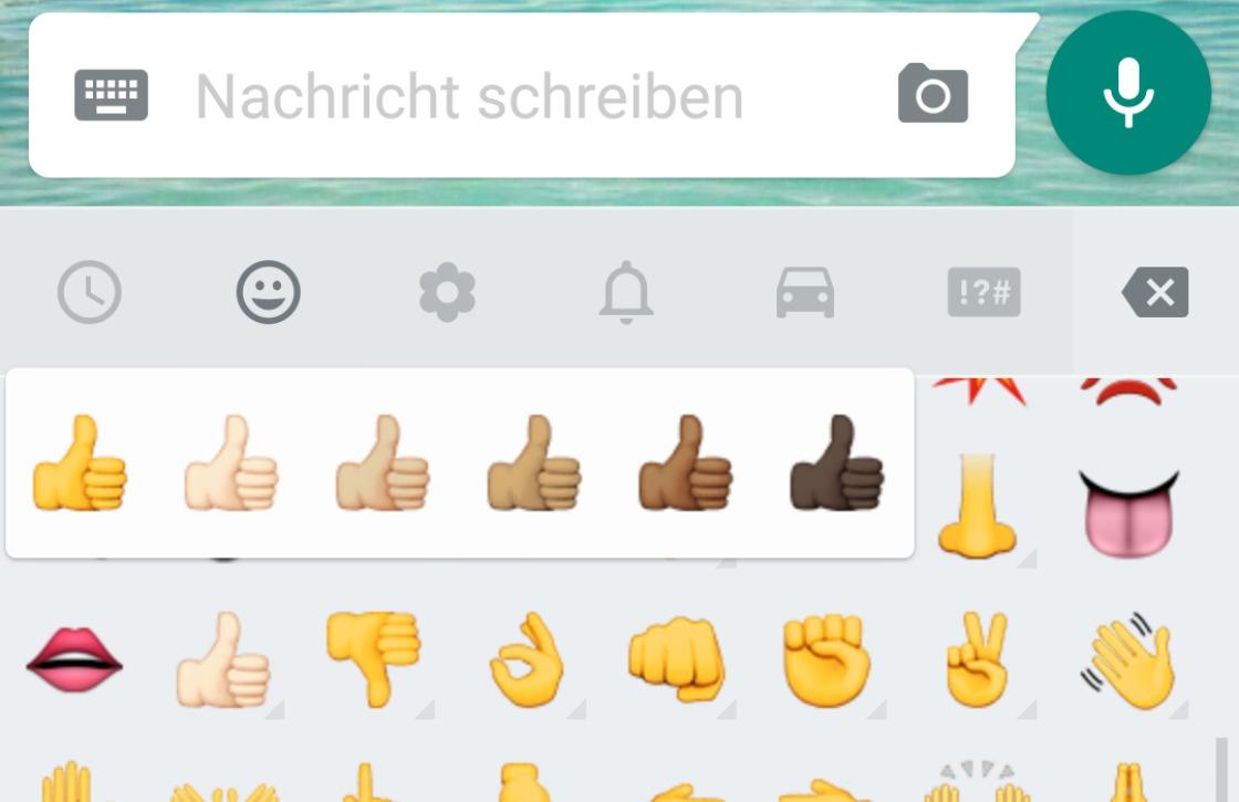 WhatsApp voegt emoji met verschillende huidskleuren toe