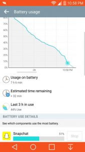 Snapchat energieverbruik