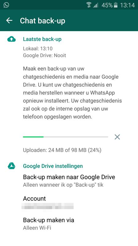 Whatsapp back-up-functie Google Drive weer beschikbaar