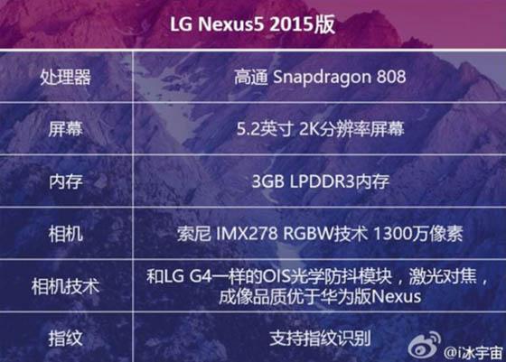 Nexus 5 (2015) specs