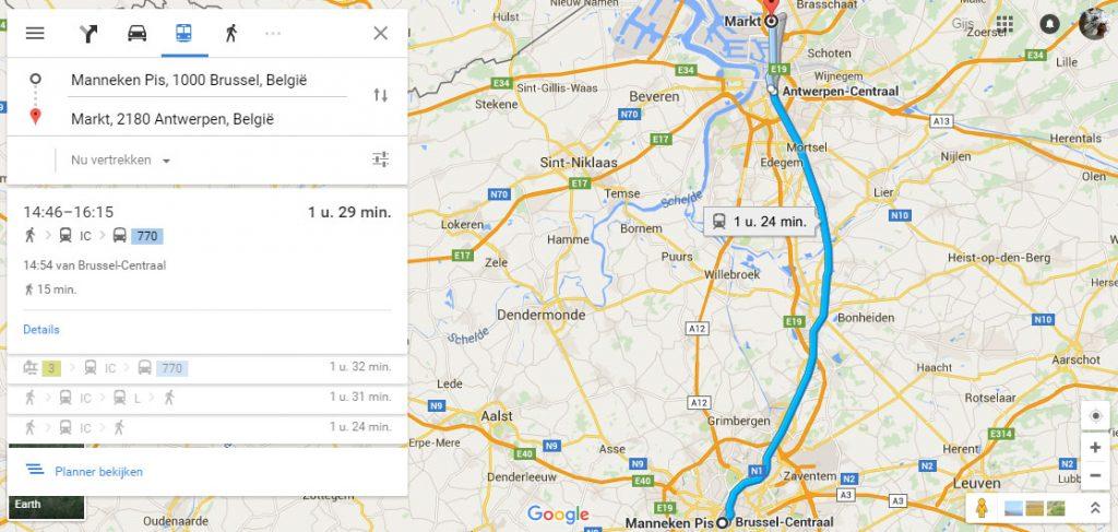 belgische ov-informatie google maps