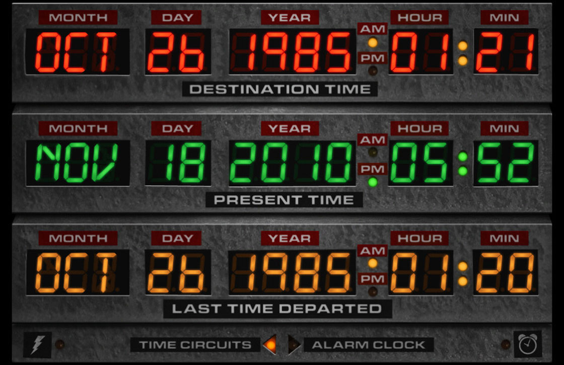 Vier Back to the Future-dag met de Flux Capacitor-app