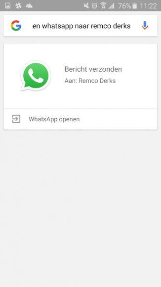 google now whatsapp