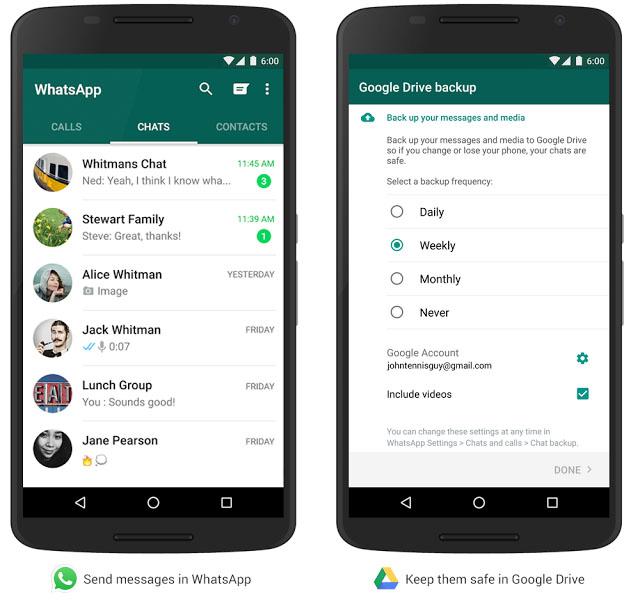 WhatsApp Googlr Drive