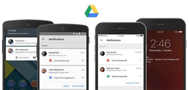 google drive notificaties
