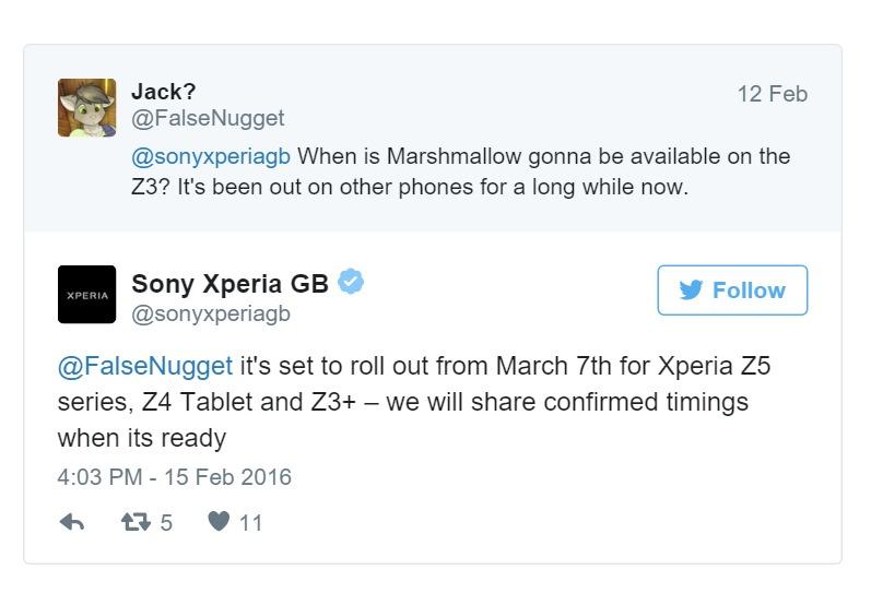 Xperia Z5 Android Marshmallow