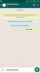 WhatsApp-Teksten