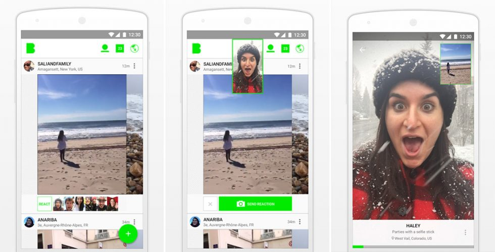 Beme Android screens