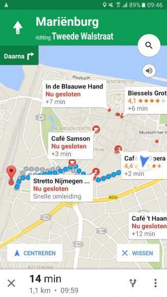 Google Maps bestemmingen looproute