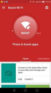 Opera Max boostknop