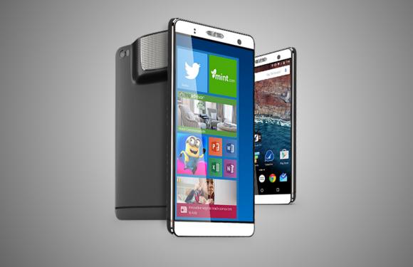 De Holofone is een Android-smartphone, Windows-pc en projector