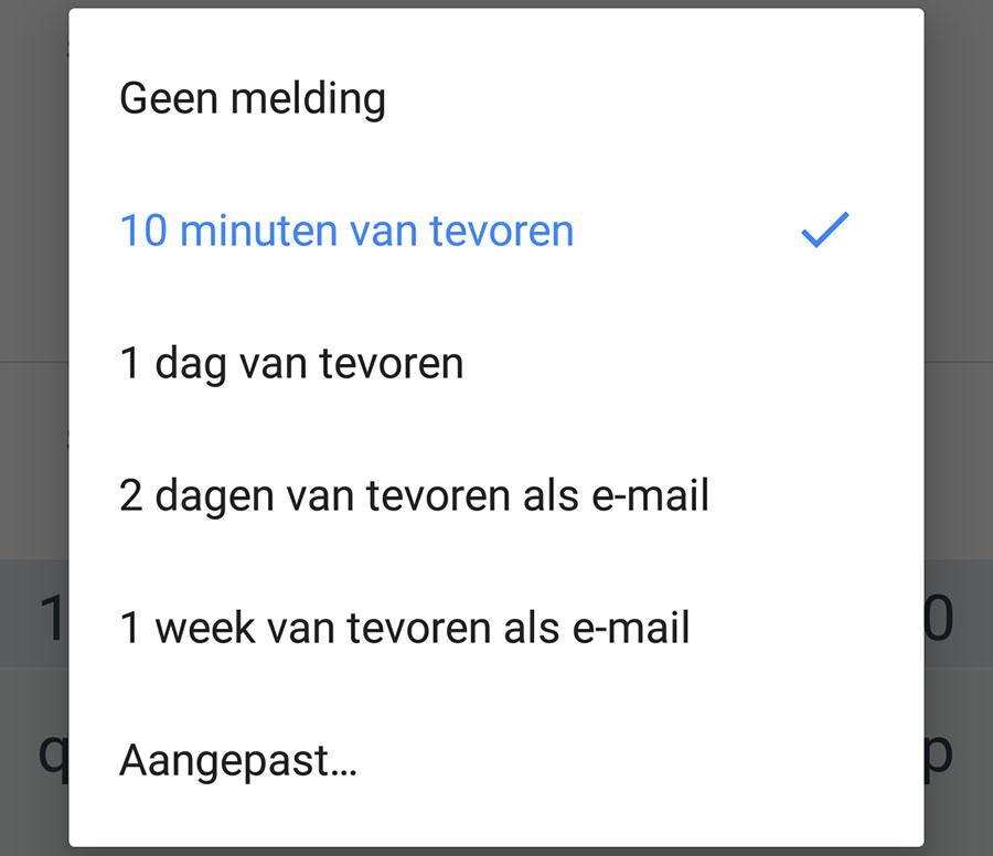 google agenda functies