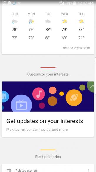 google now interesses