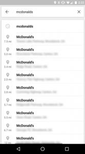 Google Maps navigatiebalk