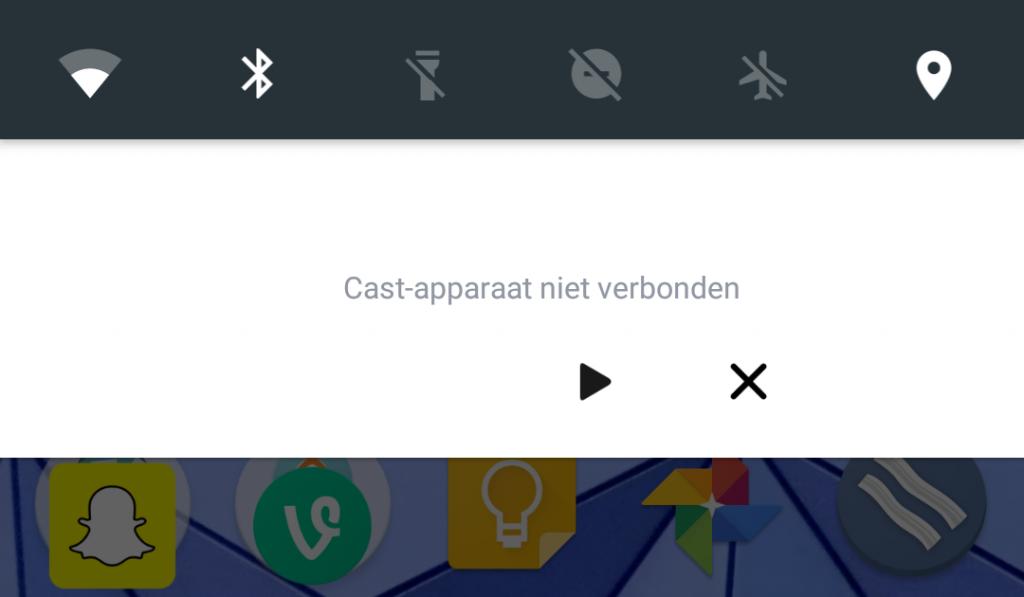cast-apparaat niet verbonden