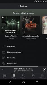 Spotify beta navigatiebalk