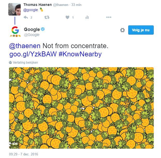 Google-zoekresultaten op Twitter