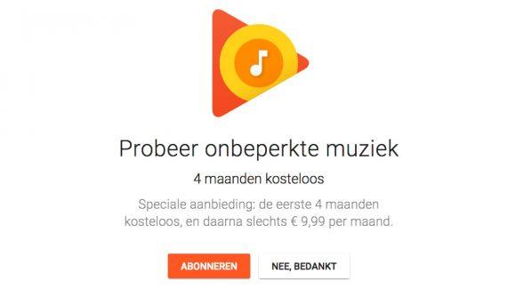 google play music aanbieding