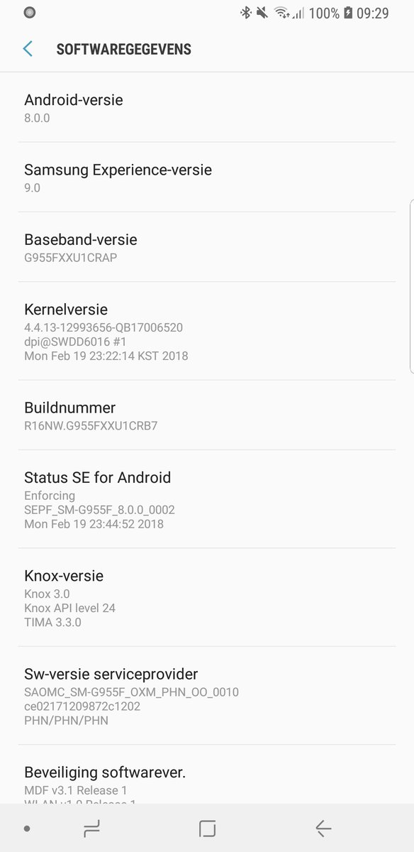 Samsung Galaxy S9 Android 8.0 Nederland