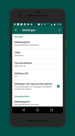 WhatsApp-meldingen prioriteit screenshot