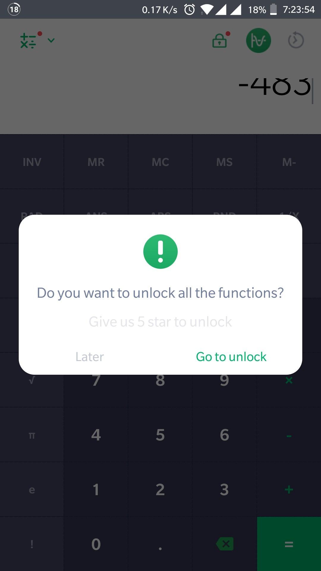 Alcatel rekenmachine-app vereist positieve review vóór gebruik