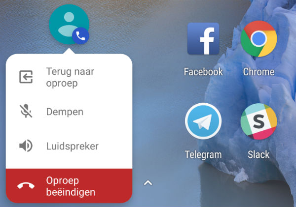 google telefoon mini-oproepweergave
