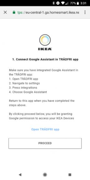 IKEA Tradfri Google Assistant koppelen