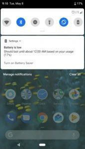 Nieuwe Android P-notificatiescherm zegt wanneer je telefoon uitschakelt.