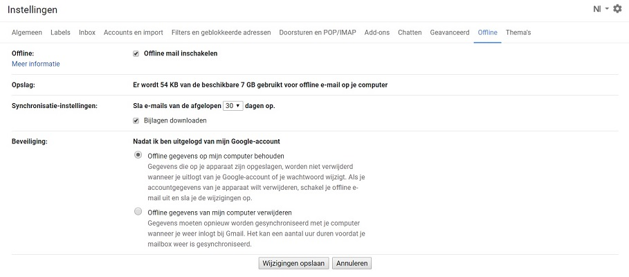 Gmail offline-modus