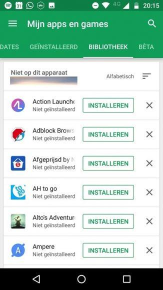 Google Play Store Bibliotheek opruimen tips (1)