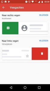 gmail veegbewegingen aanpassen