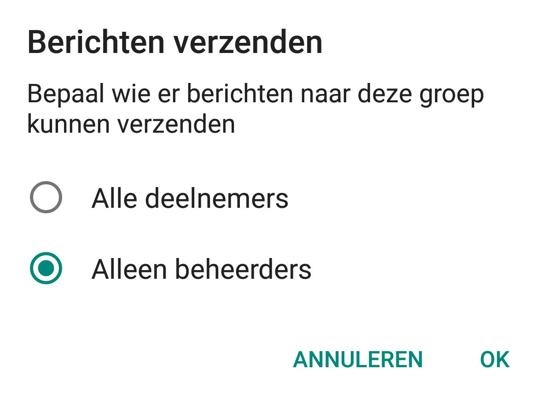 whatsapp groepsbeheerder