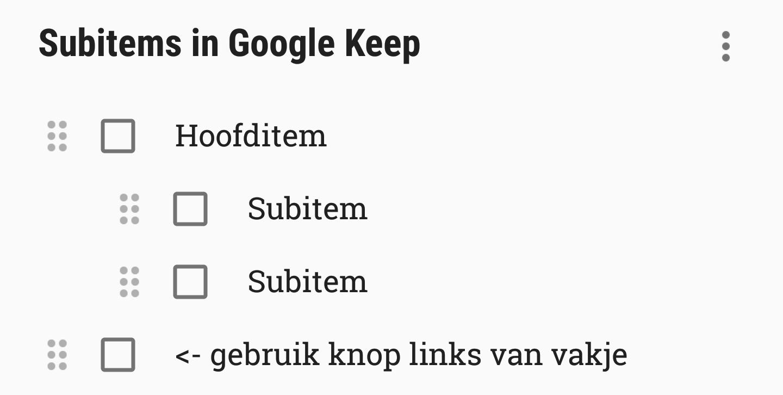 google keep subitems