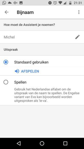 Google Assistent Naam veranderen (1)